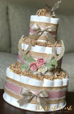 Deer Antler Diaper Cake CenterpieceShabby Chic Boho Rustic