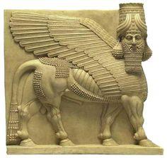 Human-headed winged bull (Lamassu) Assyrian