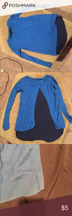 Apt 9 Blue sweater with navy panel Worn maybe a handful of times. Back open to show navy panel. Apt. 9 Tops Blouses