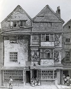 17th century London houses, drawn 1812
