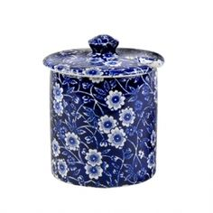"Blue Calico Jam/Sugar Pot 4"" tall x 3.5"" wide..great for jam or sugar."