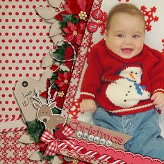 Christmas Smiles by Lynette (LRaeWoo)  This layout, using the Up Close and Personal Templates, was chosen for the big bright photo of this adorable little boy. Lynette's clusters are gorgeous with fantastic shadowing. We love the neutral background palette with all that red and the mixed alpha title is a nice touch as well.     Milk and Cookie Worthy!
