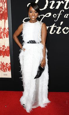 """Aja Naomi King in Huishan Zhang attends the L.A. premiere of Fox Searchlight Pictures' """"The Birth of a Nation"""". #bestdressed"""