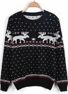 Black Long Sleeve Polka Dot Deer Pattern Sweater pictures