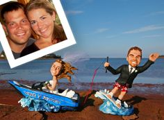 Custom Wedding Cake Topper - Wakeboarding Wedding Cake Topper sculpted by artist Christina Patterson from I Do Cake Toppers