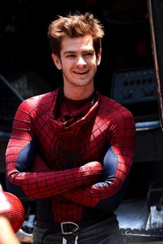 Andrew Garfield filming The Amazing Spider-Man 2