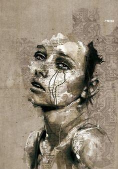Beautiful collage / ink / illustration by elvira