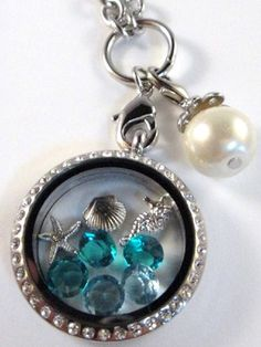 Beach Theme Floating Charm Locket Necklace with Floating Crystals