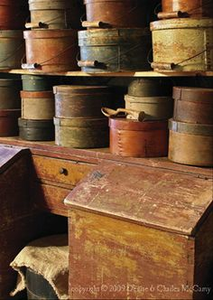 Oldes...firkins, pantry boxes & old cupboard.