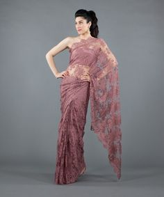 Rose French Chantilly Lace Saree                                                                                                                                                     More