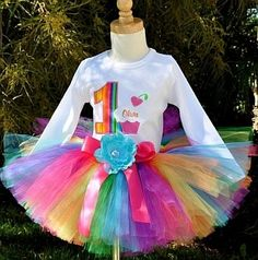 Pastel Rainbow Cupcake Girls Birthday Outfit - 1st Birthday Party Outfits
