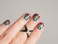 Aztec Nail Designs, Aztec Nail Art, Nail Art Designs 2016, Tribal Nails, Geometric Nail, Gel Nail Art, Nail Art Diy, Triangle Nails, Gel Nagel Design