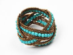 Fashion Bohemia Design Peacock Blue Handmade Waved Beads Cuff Bangle BraceletNEW #Cuff $3.99 Buy It Now + Free Shipping