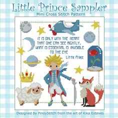 Relive the magic of The Little Prince with this cross stitch pattern featuring the beloved characters in this memorable story.