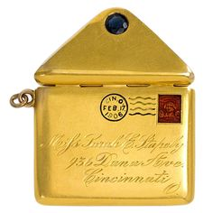 Antique Gold Pendant Locket in the Form of a Postal Letter | From a unique collection of vintage more jewelry at https://www.1stdibs.com/jewelry/more-jewelry-watches/more-jewelry/