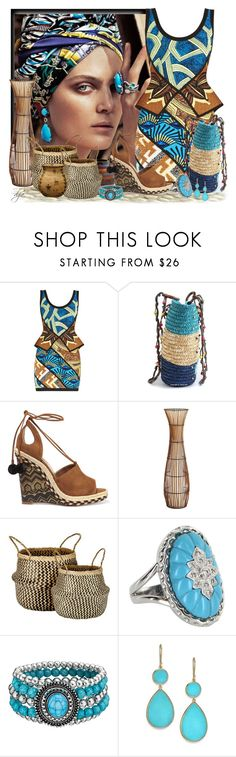 """""""Tribal"""" by dgia ❤ liked on Polyvore featuring Hervé Léger, Aquazzura, Pier 1 Imports, Murmur, Vintage and Ippolita"""