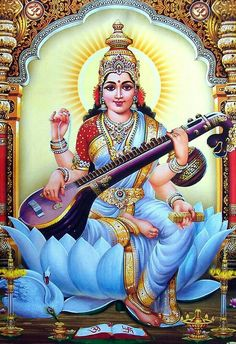 Goddess Saraswati (Reprint on Paper - Unframed) Lord Saraswati, Saraswati Mata, Saraswati Goddess, Durga, Shiva Hindu, Hindu Deities, Shiva Shakti, Krishna Art, Hindu Art