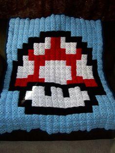 Super Mario Bros Red Mushroom Crochet Blanket by Beeswax
