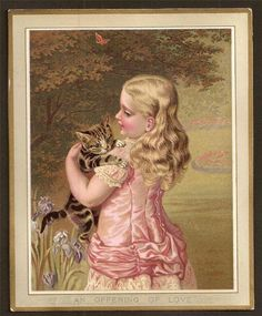 W85 - VICTORIAN GREETING CARD - GIRL WITH CAT - AN OFFERING OF LOVE. Helena Maguire.