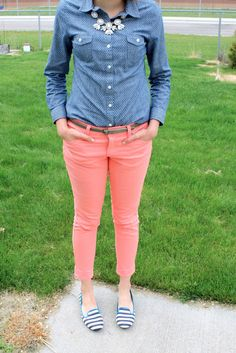 Chambray shirt, coral skinny jeans, striped loafers, statement necklace