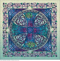 "On our blog... Happy St. Patrick's Day! Read about this festive holiday on our blog. ""Cross of Life"" image by Jen Delyth from the Celtic Mandala 2015 wall calendar."