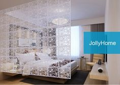 Flower Pattern Indoor Privacy Screens White|JollyHome.com
