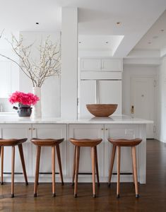 : Gorgeous Small Contemporary Kitchen Design Interior Completed With Wooden Bar Stools Furniture And White Cabinet Ideas