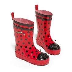 More than just a pair of boots, these playful puddle magnets make a wonderful gift. Cute rain boots from Kidorable. Made of natural rubber, they are guaranteed to be the cutest boots in your neighborhood. Featuring a Lady Bug black red polka dotted design