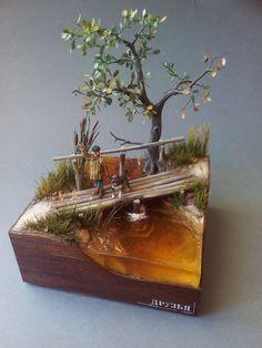 By Aleksej Pankov aka dosms. Train Miniature, Miniature Crafts, Miniature Houses, Resin Crafts, Resin Art, Crea Fimo, Dry Stone, Wire Trees, Mini Things