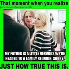 No one realises at the time that the lie she made up becomes completely true! (well, if you add the father- IN-LAW part)