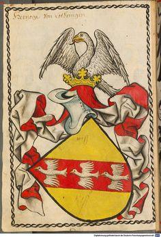 Scheiblers Wappenbuch um 1450: Herzöge von Lothringen.Während Niederlothringen im Mittelalter bald in mehrere Fürstentümer zerfiel, bestand im oberlothringischen Raum das Herzogtum Lothringen fort, das bis 1766 Teil des Heiligen Römischen Reiches war. Lothringen wurde dann zu einer Provinz des Königreichs Frankreich, das bereits im vorangegangenen Jahrhundert das Elsass annektiert hatte. Image