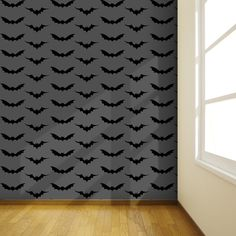 """Bat pattern grey"" Papel pintado por GinebraManson"