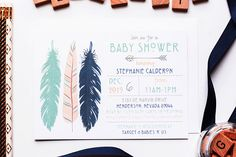 Boho Feather Shower- Boho Baby Invite, Boho Feather Invite, boho baby shower, Tribal boho shower, boy boho shower, aztec feather shower
