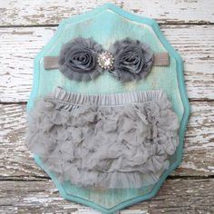 Baby Girl TuTu Bloomers Chiffon Ruffle Diaper Cover Grey Headband Set 0 3 4 months Photography Prop Newborn Take home outfit on Etsy, $19.95