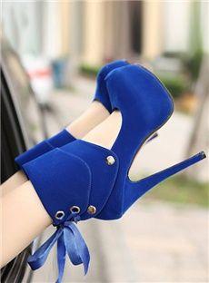 Classical European Style Blue Round Toe Bandage Platform Prom Shoes