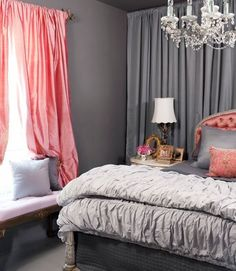 I like the coral and grey! Thinking of doing this in my master with white accents too