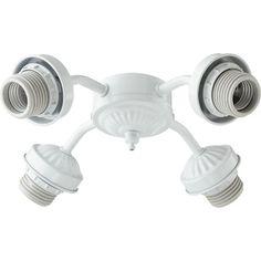 White Four Light Ceiling Fan Light Kit Mounting Hardware
