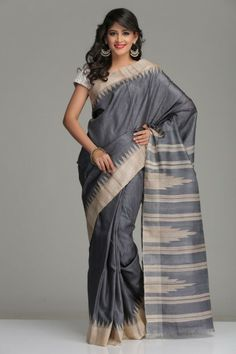Steel Grey Tussar Silk Saree With A Beige Border & Striped Pallu With Temple Motifs