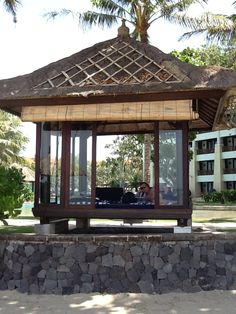 The Bales are available to rent for the day at the Conrad Bali Resort, such a relaxing way to spend a day. Bali Resort, Gazebo, Outdoor Structures, Kiosk, Pavilion, Arbors, Cabana