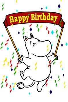 Moomin birthday card Moomin Cartoon, Birthday Cards, Happy Birthday, Cartoon Photo, Tove Jansson, Creative Cards, Art Reference, Manga Anime, Disney