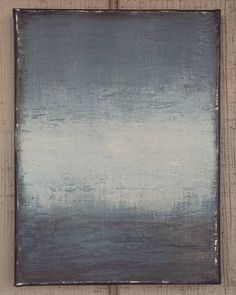 Original Ocean Abstract Painting, Rustic Textured Blue Green Gray Canvas Wall Art, Amy Neal 9x12 by AmyNealArtStudio on Etsy
