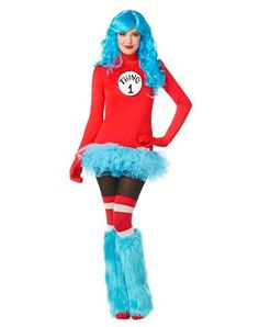 Thing 1 Dress Adult Womens Costume also found a thing one and two costume for dogs that could match. (Not on this site tho)