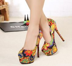 Cute And Colorful Paisley Design High Heels Shoes