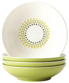 Rachael Ray - Circles and Dots 4-Piece Fruit Bowl Set - Green