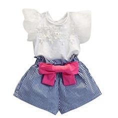 Bow Shorts & Floral Blouse Outfit for Toddler Girls – Bitsy Bug Boutique Gender: GirlsPattern: White floral/blue stripes/pink bowFit: Fits true to sizeMaterial: Cotton BlendSummary: Girls lace t-shirt and striped shorts set with pink bow. Girls Summer Outfits, Toddler Girl Outfits, Short Outfits, Kids Outfits, Toddler Girls, Kids Girls, Summer Clothes, Summer Girls, Bow Shorts