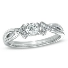 1/5 CT. T.W. Diamond Ribbon Promise Ring in 10K White Gold - View All Rings - Zales This would make a lovely engagement ring<3