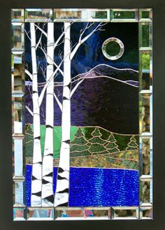"Stained Glass by Rosemarie Ferry League of NH Craftsman 2012 Stevens Glass Award and Permanent Collection Purchase Award For Her ""Birches In Mirror"" Piece. Custom Stained Glass, Stained Glass Designs, Stained Glass Panels, Stained Glass Projects, Stained Glass Patterns, Stained Glass Art, Leaded Glass, Mosaic Art, Mosaic Glass"