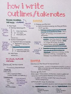 Studying Sweet & Swell — How I write outlines/take notes, for those of you...