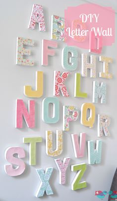 DIY Letter Wall Art – Make a big, colorful statement piece with an inexpensive home decor craft. The Love Nerds … DIY Letter Wall Art – Make… Karton Design, Deco Pastel, Decor Crafts, Diy Crafts, Letter Wall Art, Abc Wall, Alphabet Wall Art, Diy Letters, Wall Letters Decor