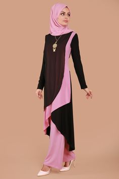 Çift Renkli Pantolonlu Kombin MSW9155-S Gül Kurusu Abaya Fashion, Modest Fashion, Fashion Outfits, Muslim Women Fashion, Islamic Fashion, Modele Hijab, Hijab Style, Muslim Dress, Islamic Clothing